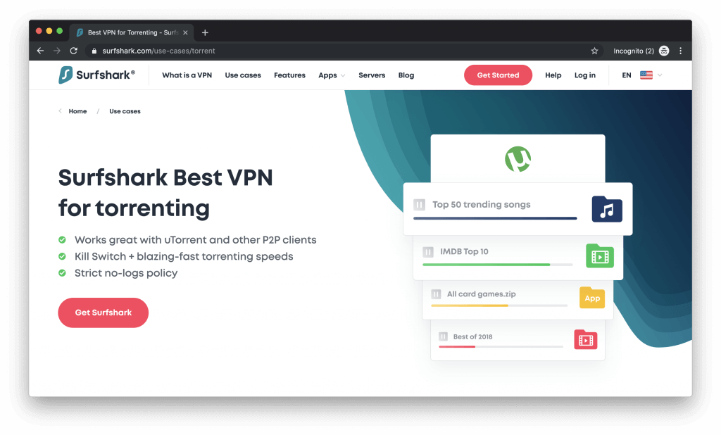 safe vpn to download torrents surfshark