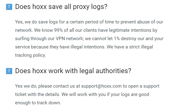 hoxx vpn logs policy